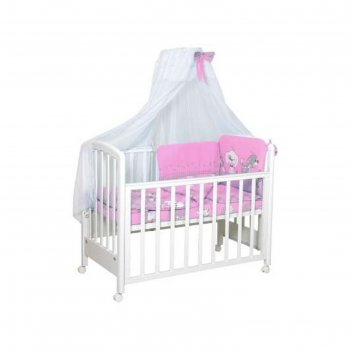 Комплект в кроватку «веселая игра», 7 предметов, цвет розовый