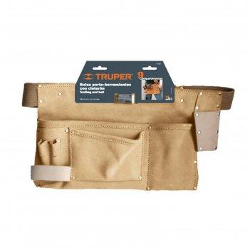 Поясная сумка для инструмента truper poca-9, кожа 1.8 мм, 9 отделений, 25х