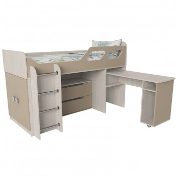 Кровать вега 4 левый, 1950х1250х1260, бодега светлый/капучино
