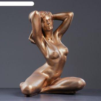 Фигура девушка сидя пробуждение 31х41х52см бронза