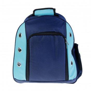 Рюкзак для переноски животных с мини-вольером, 40 х 20 х 44 см, синий