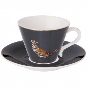 Чайный набор сова на 1пер. 2пр. 230мл маренго (кор=36наб.)