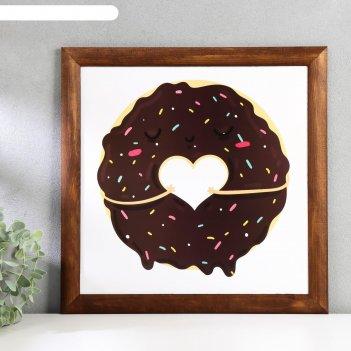 Постер дерево шоколадный пончик 35х35 см, венге