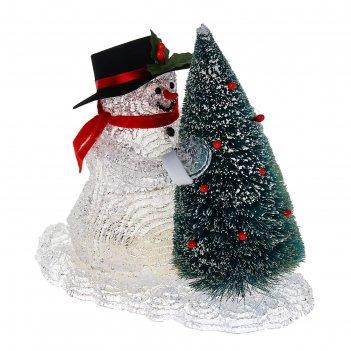 Фигура акрил. снеговик с елкой 22х22 см, led (батарейки аа 3 шт.) белый