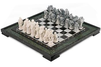 Шахматы русские сказки змеевик мрамолит 480х480 мм