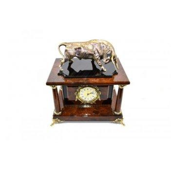 Часы-сейф бык из обсидиана (арт.с-024)