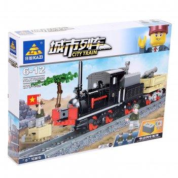 Конструктор городской поезд, работает от батареек, 379 деталей