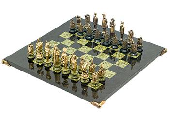Шахматы деревенские камень змеевик 42х42см