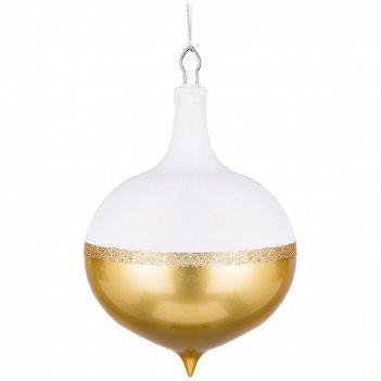 Декоративное изделие шар белый глиттер с золотым декором диаметр=22 см без