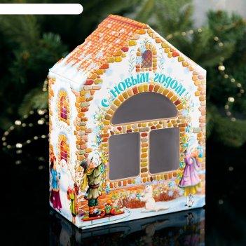 Коробка подарочная домик ретро, малый, с окошком, 16.5 х 8 х 23 см