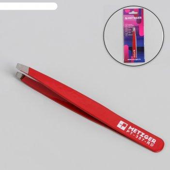 Пинцет скошенный, широкий, 9,5 см, цвет красный, pt-357-rd