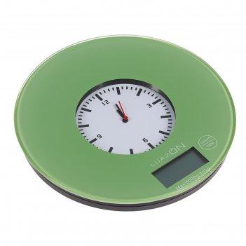 Весы электронные кухонные luazon lvk-703 до 5 кг, круглые, стекло, хаки