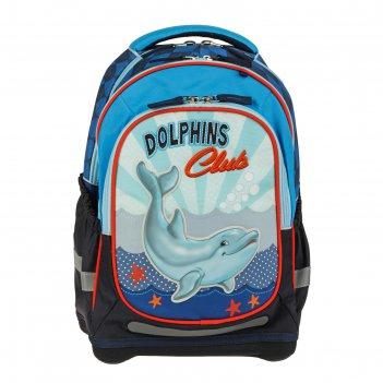 Рюкзак школьный эргономичная спинка target 44*32*17 «дельфин», синий/голуб