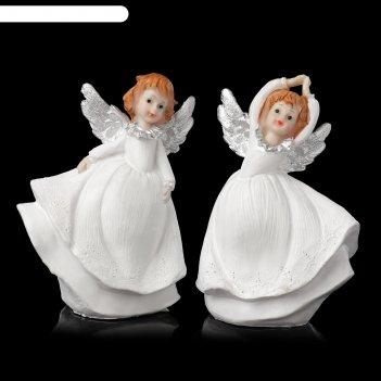 Сувенир полистоун танцующий ангелочек с серебристыми крыльями микс 13,5х10