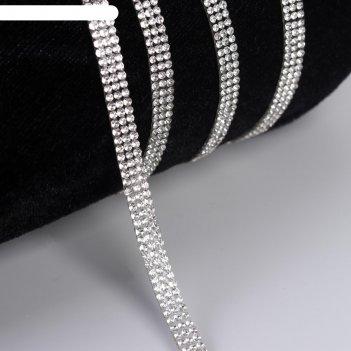 Стразы термоклеевые на листе d = 2 мм, 7 мм, 4,5 ± 0,5 м, цвет серебряный