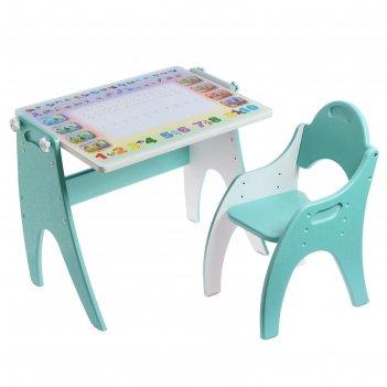Набор детской мебели «буквы-цифры»: парта-мольберт, стульчик, цвет бирюзов