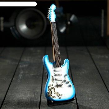 Гитара сувенирная fender electric синяя, на подставке 24х8х2 см