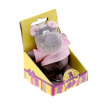 Мягкая игрушка-брелок бегемот в рубахе в коробочке