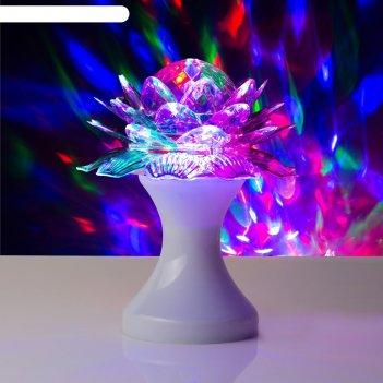 Световой прибор хрустальный шар цветок диаметр 12,5 см v220 белый (rgb)