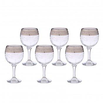 Набор фужеров для вина 260 мл русский узор, 6 шт