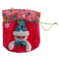 Мешок для подарка весёлый снеговик (розовый)