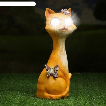 Садовый светильник кошечка на солнечной батарее, 24 см