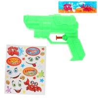 Пистолет водный крутая пушка, с эксклюзивными наклейками, цвета микс
