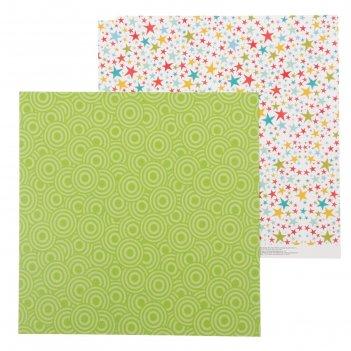 Бумага для скрапбукинга «звёздочки», 30.5 x 30.5 см, 180 г/м