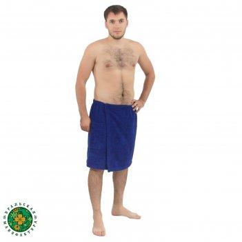 Мужской килт для сауны с карманом этель 50*150 см, цв. синий, 340 г/м2, хл