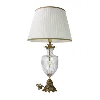 Лампа настольная интерьерная на бронзовом основании с тканевым абажуром
