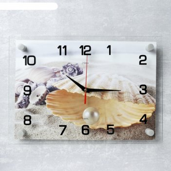 Часы настенные, серия: море, ракушка с жемчужиной, 25х35  см, микс