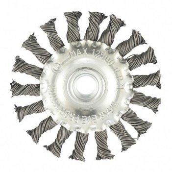 Щетка для ушм 100 мм, м14, плоская, крученая проволока 0,8 мм mtx