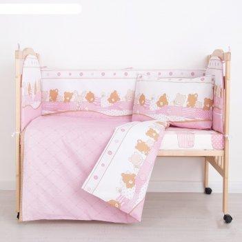 Комплект в кроватку (6 предметов) спящие зверушки, бязь, хл100%   41942