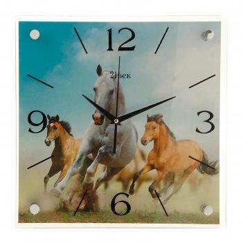 Часы настенные, серия: животный мир, лошади, 35х35  см, микс