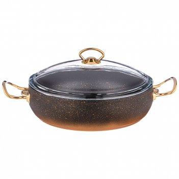 Сотейник agness со стекл.крышкой и антипригар.мраморным покрытием, серия m
