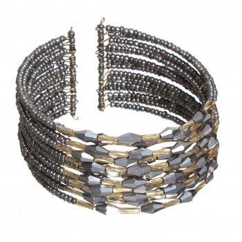 Браслет из бисера нефертити, цвет серебро