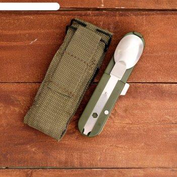 Набор туриста 4в1: нож, ложка, вилка, штопор, разборный