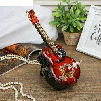 Шкатулка музыкальная механическая гитара микс 22,5х28х12 см