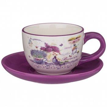 Чайный набор на 1 персону лавандовая весна 15*15 см., 220 мл, 2пр.