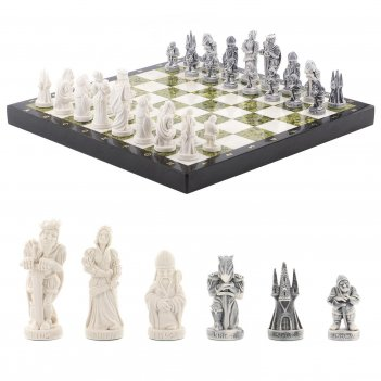 Шахматы средневековье мрамор змеевик 415х415 мм