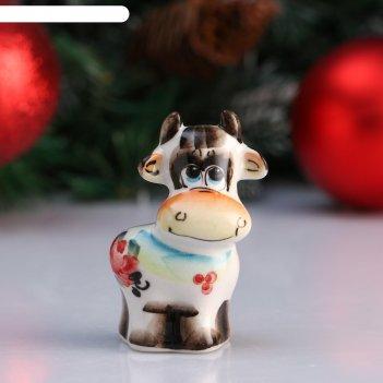 Сувенир бык лунтик, 7,5 см, цветная гжель