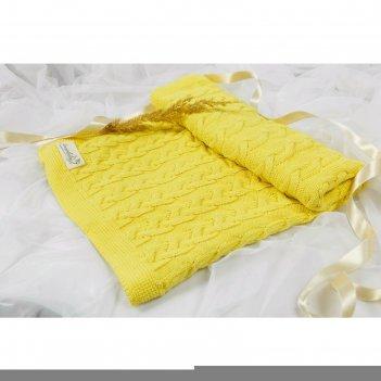 Плед pure love, размер 87x100 см, принт косичка, жёлтый