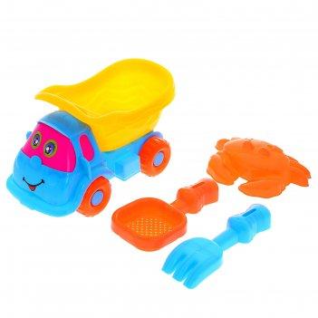 Песочный набор малышка 4 предмета: машинка, формочка, сито, грабли, цвета