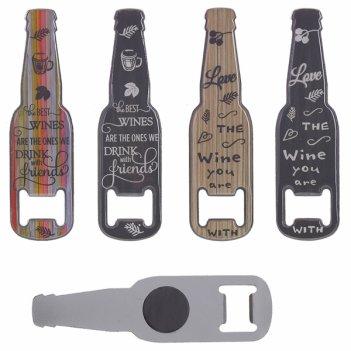 Магнит-открывалка бутылка, 13,5х3,5х0,3см, 4в