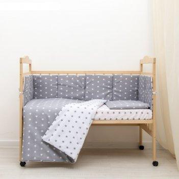 Комплект в кроватку 6 пр. подушечки (борт из 4-х частей), цвет серый, бязь