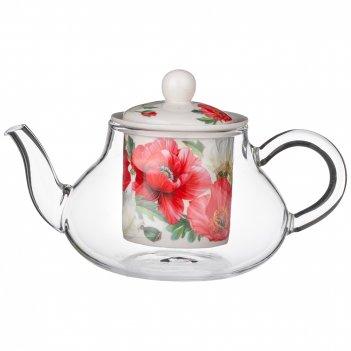 Чайник стеклянный с ситом lefard маки 500 мл