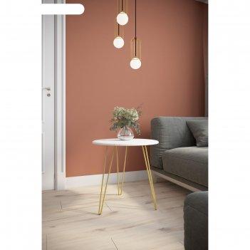 Стол журнальный «рид голд 530», 550 x 550 x 550 мм, цвет белый мрамор