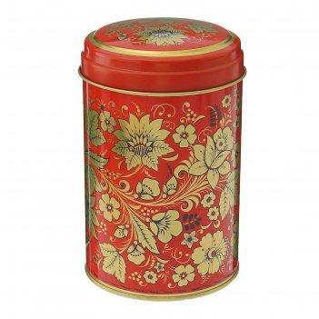 Банка для сыпучих продуктов 1,1 л русский узор цветы, круглая