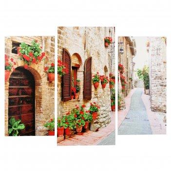 Модульная картина итальянская улочка (2-25х50, 30х60 см)  60х80 см
