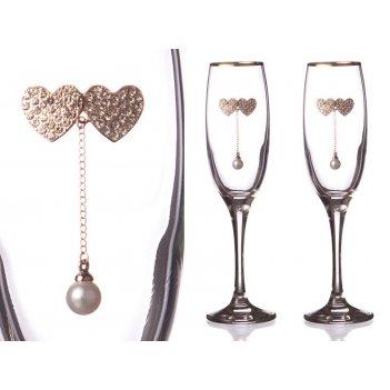 Фужеры свадебные для шампанского из 2 шт. с золотой каймой 170